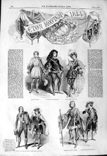 Old Original Antik Viktorianisch Druck 1844Eton Montem Kostüm Hussar Noble College Salz (Husaren Kostüm)