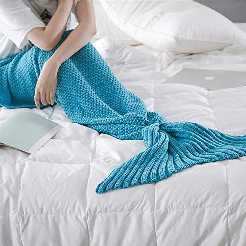 Ashanlan Meerjungfrau Endstück Häkeln Decke Teens Jugendliche Erwachsene Wohnzimmer Sofa super weiche Decken Schlafsack-Eisblau (Weiche Decken Für Teens)