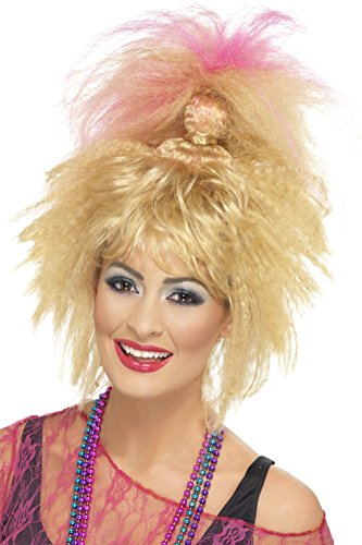 Smiffys Damen 80er Jahre Gekräuselte Perücke mit Hohem Pferdeschwanz und Pony, Blond und Rosa, One Size, 43256 43256