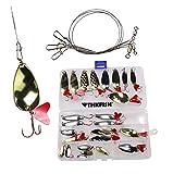 cwfishng Cucharas de pesca, 28 piezas Cucharas de metal de pesca Señuelos de cebo de pesca...
