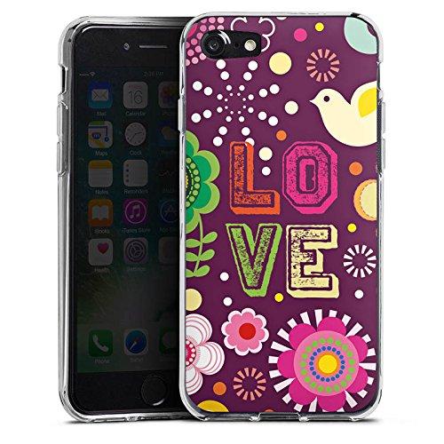 Apple iPhone X Silikon Hülle Case Schutzhülle Love 60s Hippie Bunt Silikon Case transparent
