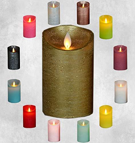 LED Echtwachskerze Kerze Farbauswahl Timer flackernde Wachskerze Kerzen Batterie, Farbe:Gold, Größe:15 cm