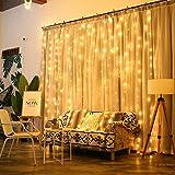Guirlande Lumineuses Rideau, Qomolo 304LED Guirlande Lumières de Rideau en fenêtre Étanche,pour Décoration intérieur et extérieur Maison Mariage Noël Parti Jardin, 3M × 3M