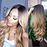 HANNE Ombre Color 1B/27 Long Curly Wig Heat Resistant Sythentic Cosplay Wig Full Wig for Women Party Wigs