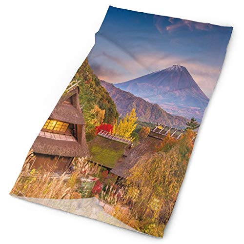 Magic Headwear Outdoor Scarf Headbands Bandana,Japanese Landscape With An Old Village Natural Rural Scenery Bushes And Highlands,Mask Neck Gaiter Head Wrap Mask Sweatband