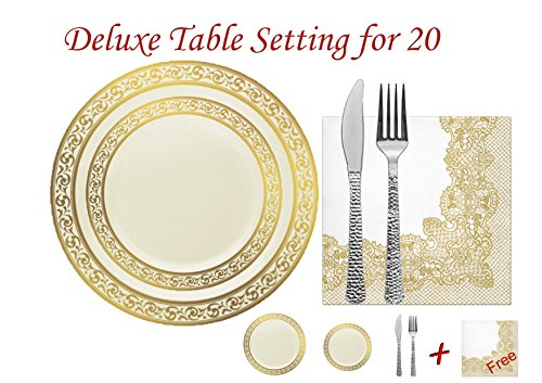 Decorline-Vaisselle de luxe à usage unique-Couleur crème avec bord motif doré gaufré -Party-jetable -plastique rigide (Set de VAISSELLE JETABLE DE LUXE - POUR 20 PERSONNES, contient : 20 grands assiettes 26cm, 20 assiettes 19 cm, COUVERT JETABLES : argent métallisés, effet martelé : 40 Fourchettes jetable 18 cm, 40 couteaux jetable18.5 cm, + 20 serviettes Décor crème/or 33x33 cm, 3 plis GRATUIT)