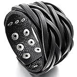 MunkiMix Metalllegierung Legierung Echtleder Armband Armreifen Manschette Seil Schwarz Einstellbar Verstellbaren Herren
