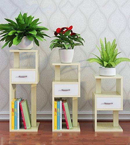 CAIJUN Holz Blumenständer Ecktisch Bücherregale Blumentopf Ausstellungsstand, 3 Stück, 5 Farben Blumenständer Blumentopf Rack (Farbe : E) (Bücherregal 3 Stück)