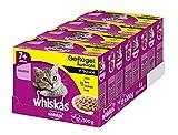 Whiskas Katzen-/Nassfutter Multipack Senior 7+ für ältere Katzen Geflügelauswahl in Sauce, 48 Portionsbeutel (4 x 12 x 100 g)