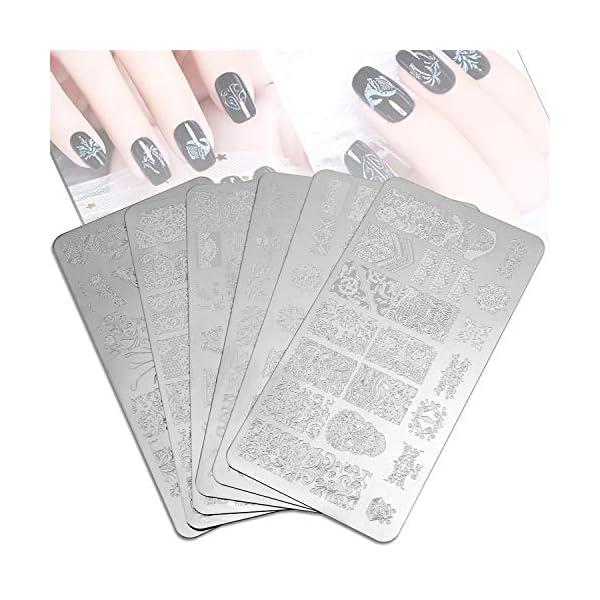 Mwoot 6pcs Nail Art Stamping, Plantillas para Uñas,Placas Estampacion Uñas para Manicura