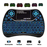 ANEWISH 2.4GHz RF Wireless Mini Keyboard with Touchpad Mouse Combo, Rechargable & Light