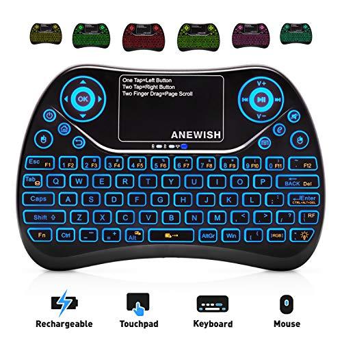 ANEWISH 2,4 GHz RF Wireless Mini-Tastatur mit Touchpad Maus, wiederaufladbar & Licht & Handheld Smart Remote für Google Android TV Box, PS3, PC, Pad -