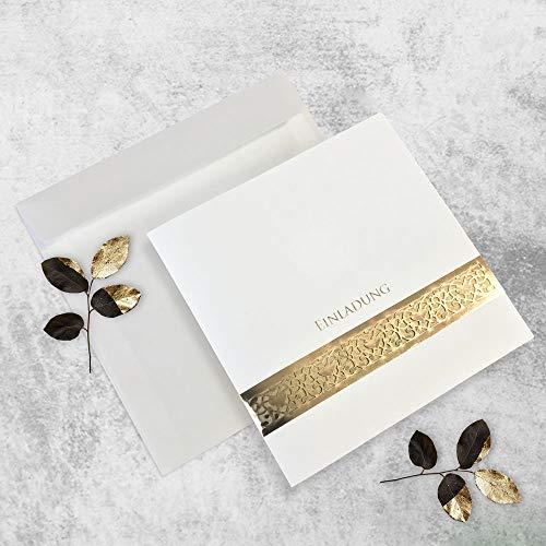 Einladungskarte Set (10 Stück) zur Hochzeit, Kommunion, Geburtstag inkl. Umschlag zum Selber Drucken