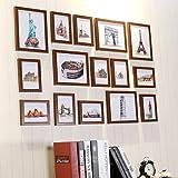 HJKY Photo Frame Wall Set Bilderrahmen von 15 Wohnwand Hochzeit Foto frame Wand Wohnzimmer Studie braunes Holz Teak Holz Farbe mit handbemalten Landschaften Chipsatz