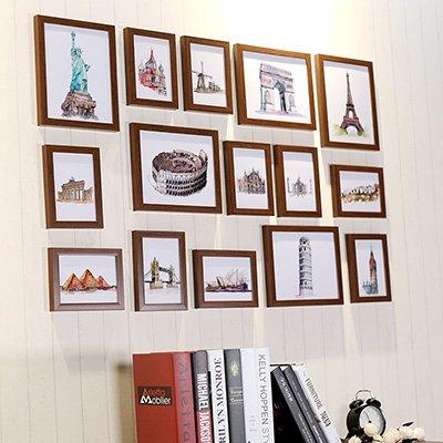 Preisvergleich Produktbild HJKY Photo Frame Wall Set Bilderrahmen von 15 Wohnwand Hochzeit Foto frame Wand Wohnzimmer Studie braunes Holz Teak Holz Farbe mit handbemalten Landschaften Chipsatz