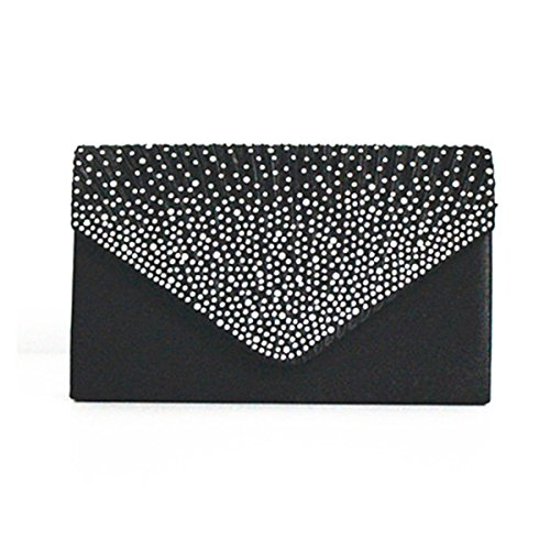Lady Clutch Bag Strass Schultertasche Elegante Plissee Umschlag Abend Handtasche Hochzeit Tasche Geldbörse Für Frauen Black