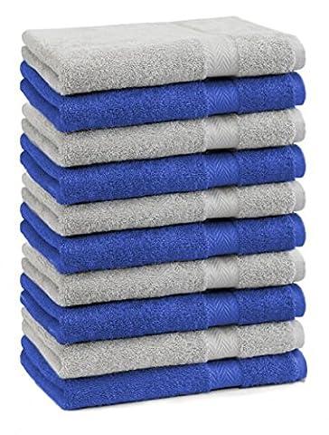 Betz 10er Pack Gästehandtücher Set Gästetuch 100% Baumwolle Größe 30x50 cm Handtuch Premium Farbe Royal Blau & Silber