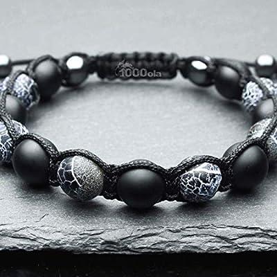 Mode tendance Bracelet Homme Style Shambala Perles Ø 10mm pierre naturelle agate onyx mat noir, Agate Toile d'araignée BRATUTAN16