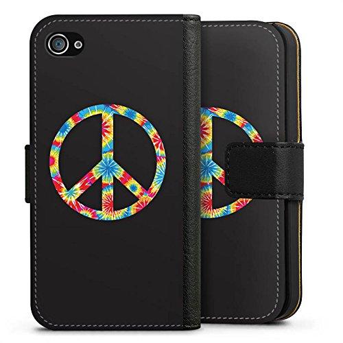 Apple iPhone X Silikon Hülle Case Schutzhülle Peace Hippie Bunt Sideflip Tasche schwarz