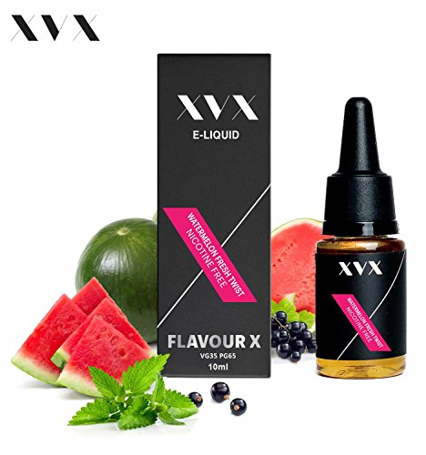 XVX E Liquid \ Watermelon Fresh Twist Flavour \ Flavour X \ VG35 PG65 \ Electronic Liquid For E Cigarette \ Electronic Shisha Liquid \ 10ml Bottle \ Only Available In 5 Exclusive Flavours \ Needle Tip \ Precision Pouring \ Choose Your Lifestyle \ New For 2016 \ Digital Smoke \ Nicotine Free \ Tobacco Free