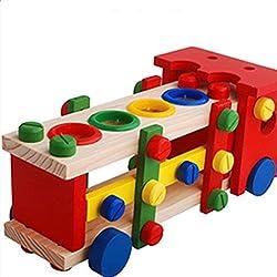 Conjunto de Juguete Bolas de Banco Camión Martillo Vagones Golpeando Madera Niños
