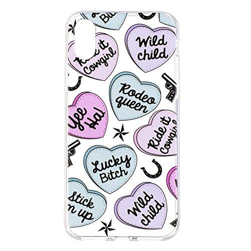 Pour iPhone 7 Cas,SKYXD pour iPhone 8 Coque GEL Souple TPU Transparente Incassable Anti Choc avec Impression Motif (Feuilles de banane) Amour