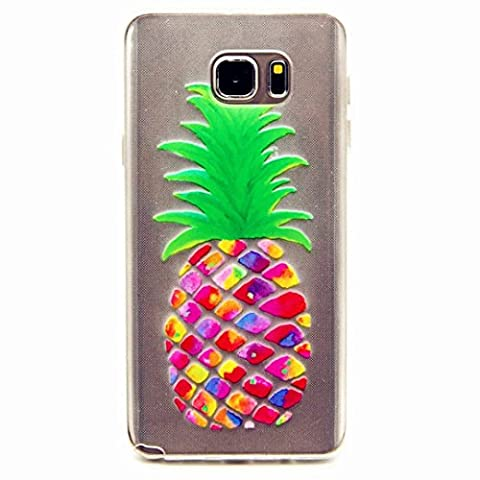 MUTOUREN Samsung Galaxy Note 5 case cover TPU Silicone Gel Case crystal clear shock proof soft durable scratch resistant Jelly Rubber TPU protective case cover shell with beautiful colorful pattern design-colorful pineapple