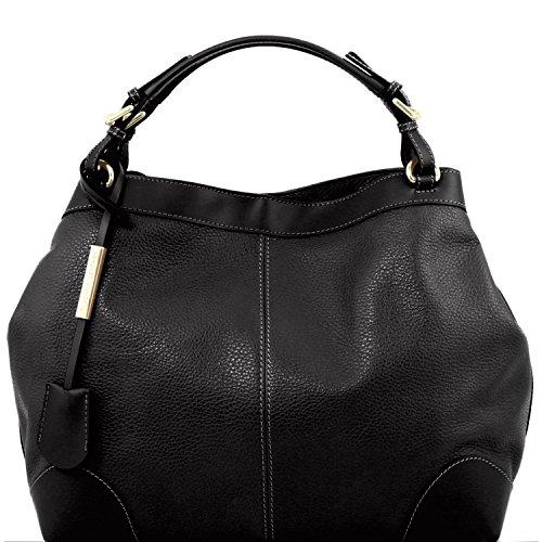 Tuscany Leather Ambrosia - Borsa in pelle morbida con tracolla - TL141516 (Blu scuro) Nero