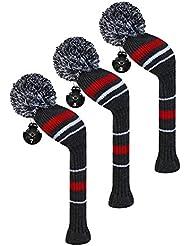 Scott Edward maderas de calle golf club cabeza Covers, alerta rayas, hilo acrílico double-layers de punto, 3 piezas paquete, giratorio con número etiquetas, 3 colores optiona, gris