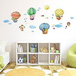 Decowall DA-1406B Globos Aerostáticos de Animales Vinilo Pegatinas Decorativas Adhesiva Pared Dormitorio Salón Guardería Habitación Infantiles Niños Bebés