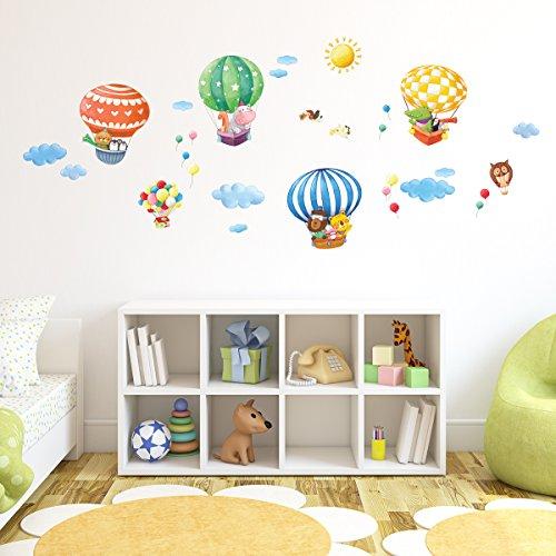 Decowall DA-1406B Tiere Heißluftballons Wandsticker Wandaufkleber Wandtattoo Kinderzimmer