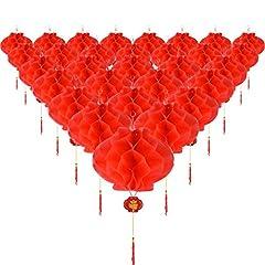 Idea Regalo - Tatuo 30 Pezzi Carta Plastica Rosso Lanterna Rossa Appendere Lanterne per Cinese Primavera Festival Matrimonio Festiva Decorazione, 8.4 Pollici