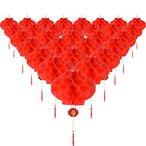 30 Piezas Farolillos de Papel de Plástico Rojos Faroles Colgantes para Decoración de Festival de Primavera Chino Boda Fiesta, 8,4 Pulgadas
