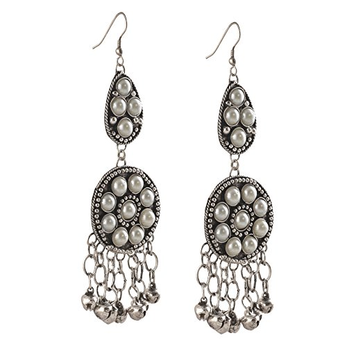 Zephyrr German Silver Afghani Double Strand Dangler Earrings For Girls and Women
