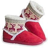 Urhome® Unisex Hausschuhe für Winter Rutschfeste Sohle Hüttenschuh Indoor Plüsch Pantoffel Schlappen für Gäste Damen & Herren gefüttert Teddyfell Rot, Größe:38/39