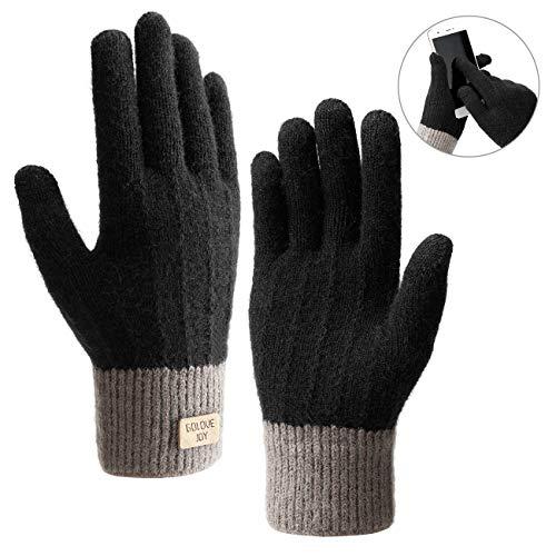 Homealexa Winterhandschuhe Touchscreen Handschuhe Strick Fingerhandschuhe Sport Warm und Winddicht Winterhandschuhe für Skifahren Radfahren und SMS, Geeinget für Damen und Herren (Schwarz)