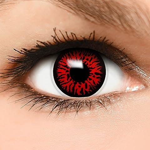 12 Mois Costume Idées - FUNZERA® Lentilles de Contact de Couleur Noir-Rouge