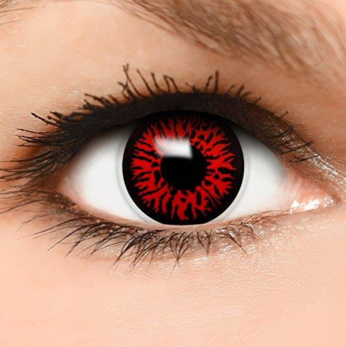 Farbige Kontaktlinsen Dämon in rot, weich ohne Stärke, 2er Pack inkl. Behälter und 10ml Kombilösung - Top-Markenqualität, angenehm zu tragen und perfekt zu Halloween oder Karneval