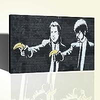 Banksy Pulp Fiction Banana Graffiti Poster Stampa su Tela Canvas 61x38cm