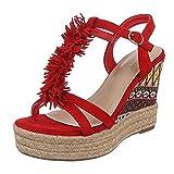 Ital-Design Damen Schuhe, B130L-SP, Sandaletten, Fransen Keil Wedges Pumps, Synthetik in Hochwertiger Wildlederoptik, Rot, Gr 40