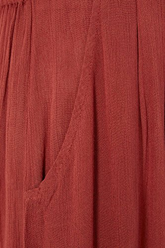 Roman Originals Damen Plisseefalten Hose Sommerurlaub lassig Alltag lockerer Sitz hell Rost Rot