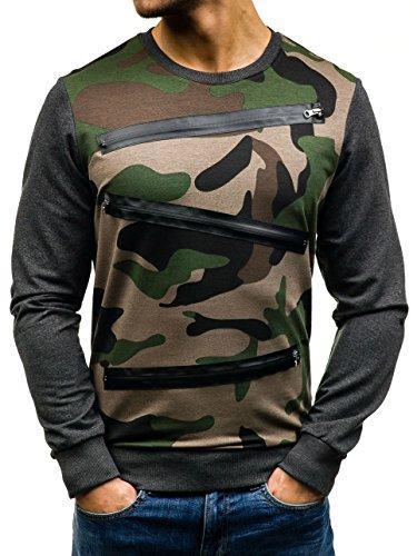 BOLF �?Felpa senza cappuccio �?Sweat-shirt �?Uomo Verde-Grafite