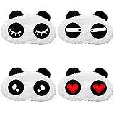 Uoging 4 Stück Augen Schlafmaske, Panda Atmungsaktiv Schlafbrillen für Auto Zug Flugzeug Schichtarbeit Meditation Migräne Nickerchen