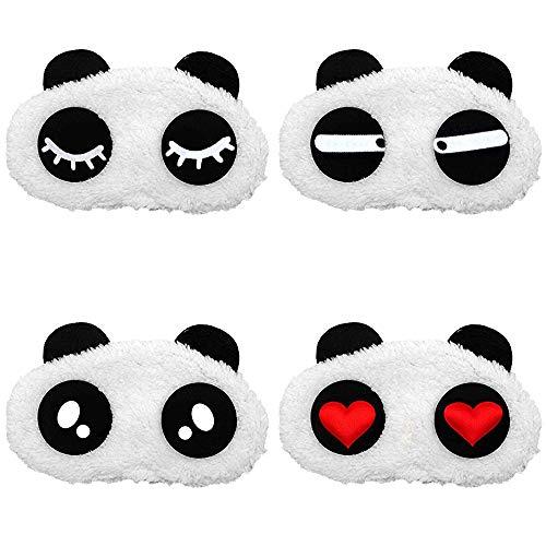 Tasquite 4 Stück Augen Schlafmaske, Panda Schlafende Augenmaske für Frauen Kinder Zug Bus Flugzeug Reise Büro