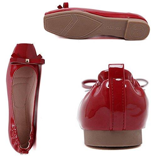Femme Mocassins Confort Loafers Slip-on Chaussures Bateau pour Conduire Rouge