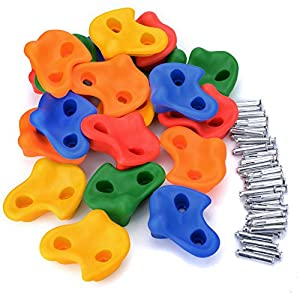Textured Escalada Escalada Escalada Sostiene Rockwall Juego de patio interior / al aire libre para niños Multicolor Surtido de 20 piezas (Climbing Handles & Screws & Turnbuckles)