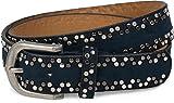 styleBREAKER Nietengürtel aus weichem Material mit verschiedenfarbigen kleinen Nieten, Gürtel Unisex 03010071, Farbe:Midnight-Blue / Dunkelblau;Größe:90cm