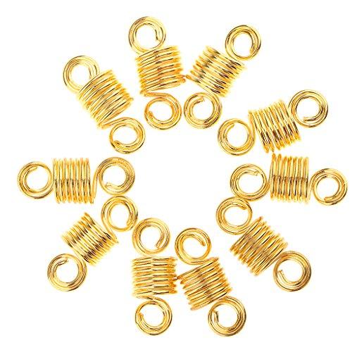 MagiDeal 10x Perle Dreadlocks de Cheveux en Metal Serrures à Extension de Cheveux Braiding Dread à Décoration Coiffure - Accessoires Artisanaux pour DIY Bijoux Collier Bracelet -2.5x1cm - Or