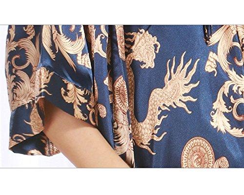 Donna Classica Semplice Camicia da Notte Pigiama Manica Lunga Satin Accappatoio 2 Piece Set Blu reale