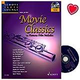 Movie Classics - 14 bekannte Film-Melodien für Flöte und Klavier - eine breite Auswahl unvergessener Klassiker der Filmgeschichte in frischen und auf das Instrument abgestimmten Arrangements - Notenbuch mit CD, eingelegter Klavierstimme und bunter herzförmiger Notenklammer